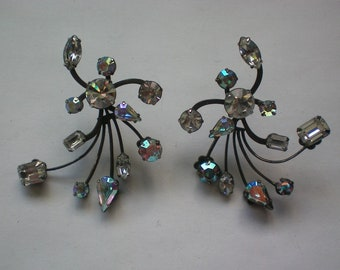 Fabulous Floral Spray Rhinestone Pierced Mid-Century Earrings - 5879
