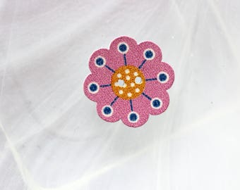 wood flower button