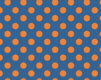 Orange Blue Dots - Medium Tone on Tone Orange Dots - 1 Yard  Cut - Orange Blue Dots - Riley Blake Designs - Cotton Fabric