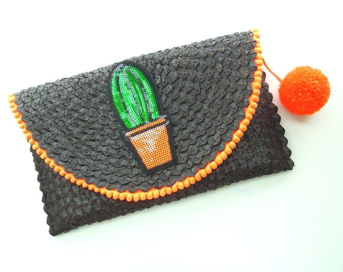 Black cactus clutch handcrafted from palm leaf, Boho clutch decorated, Gift for her, Black / Neon orange handmade clutch