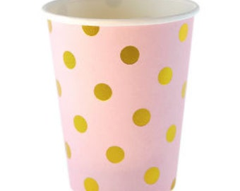 Pink with Gold Foil Polka Dot Party Cups - Set of 12 Sambellina Pink Gold Foil Dot Paper Cups- Great for Birthday Parties or Showers!