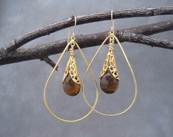 Golden Brown Faceted Hoops - Gold Hoops - Teardrop Hoops - Brown Jewelry - Rich Brown Beer Quartz - Elegant - Filagree - Victorian Inspired