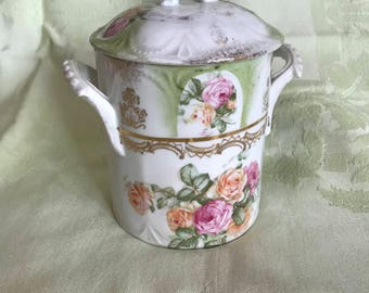 Ornate Antique Porcelain Condensed Milk Jar