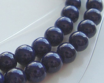 Fossil Beads 4mm Natural Navy Blue Smooth Round Fossil Stones - 8 inch Strand