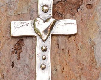 Artisan Tall Cross with Heart in Sterling Silver