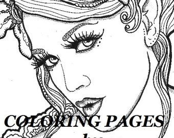 Laini Coloring page angel woman face adult coloring