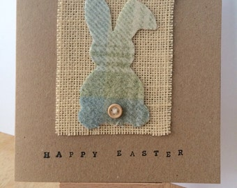 Happy Easter Card, Easter Card, Easter Bunny, Easter Gift, Tartan Bunny, Scottish Card, Bunny