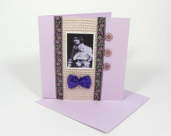 Textile card, handcrafted greeting card, blank card, all occasion card, card with envelope, lady and teddy, birthday card, thinking of you