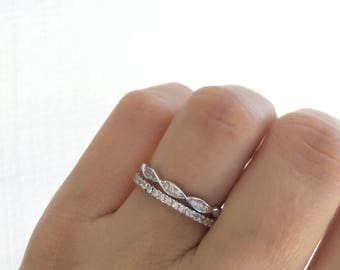 Art Deco Wedding Band. Eternity Band Ring. Wedding Ring Set. Bridal Set. Stacking Rings. Stackable Rings. Ring Set Packed In A Luxury Box.