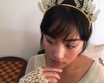 Handmade vintage beads wheat sheaf tiara headpiece wedding or races millinery