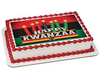 Happy Kwanzaa Edible Cake Topper