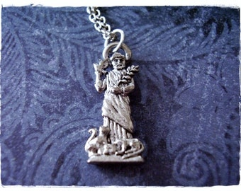 St francis of assisi st clare medal necklace patron of the silver st francis of assisi necklace antique pewter st francis of assisi charm on a aloadofball Choice Image