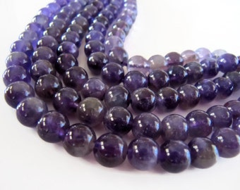 AMETHYST Beads in Purple Gemstones, 7mm to 8mm, Half Strand, Approx 24pcs, Round, Smooth, Purple Stone Beads