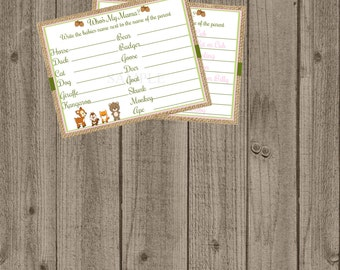 Woodland Forest Animal Baby Shower, Who's my Mama? Game, Woodland Baby Shower Printable Games
