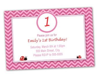 Kids Valentines Card - Cute Pink Chevron 1st Birthday Invitation Printable Party Invite Customized