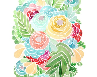 Flower Watercolor - Print Painting - Tropical Colors