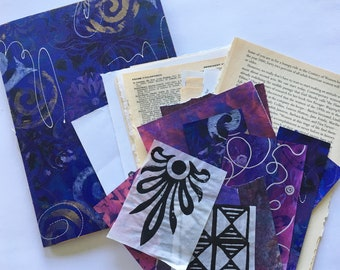 Art Journal Kit Handmade Purple Journal Collage Papers