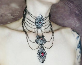 Vampiress Gothic Choker With Chain Swags Vintage Glass and Ornate Filigree
