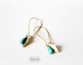 Sequin gold sea green enamel earrings
