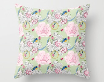 Outdoor Pillow Cover with Pillow Insert, Outdoor Pillow, Shabby Chic Bluebirds and Roses