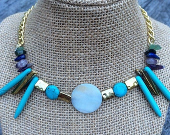 FREE CITY of QARTH - Game of Thrones inspired necklace, turquoise, gold, natural stone with gold chain and toggle clasp