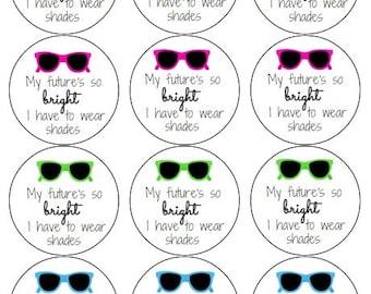 12 Bright Future Sunglasses Stickers, Brightening Birthday, Shades, Summer Birthday, Sunglasses Labels, Sunglasses, Party Labels, Birthday