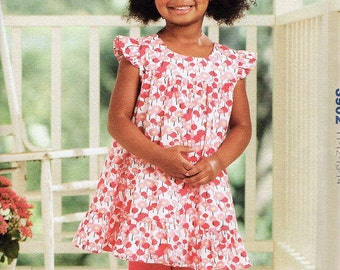 Free Us Ship Sewing Pattern Kwik Sew 3902 Smock top Leggings Hat Patti's Pinafore Girls Toddler Dress Size 1 2 3 4 2013 Out of Print New