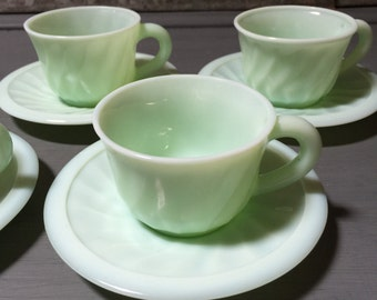 Fabulous Set of Four 1940's French Jadeite Cups, Coffee Cup or Tea Cup and Saucers, Mint Green Glass, Milk Glass,