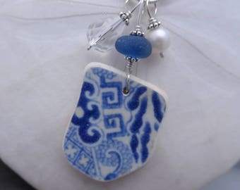 Blue Pottery Sea Glass Necklace Jewelry Pottery Shard Pendant Sterling