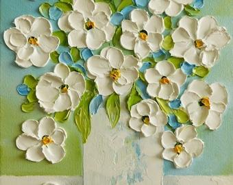 White Daisy Oil Impasto Original Painting, Custom Painting, White Daisy  Still Life  Painting