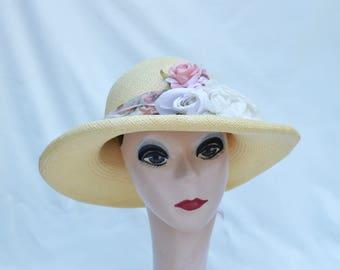 Panama Straw Sun Hat / Creamy Butter Yellow Panama Straw 3 Inch Rollled Brim Hat / Panama Straw Hat From Ecuador