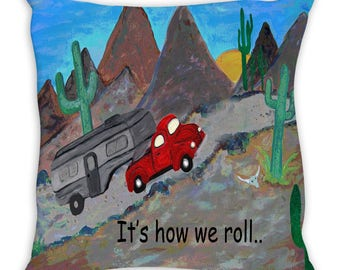 Happy camper 5th wheel camper and truck in desert double sided art throw or body pillow case from my art