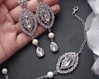 Bridal jewelry set bridal chandelier earrings bridal cuff bracelet wedding jewelry set wedding bracelet earrings set bridesmaid jewelry set
