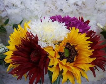 Wildflower bouquet, sunflower bouquet, gerbras, artificial wedding bouquet