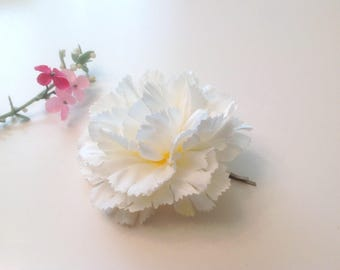 White Carnation  Bridal Flower Hair Pin Wedding Hair Accessory Hair Pin Bridal Hair Pin White Carnation Prom  Hair Pin - Ready  to Ship!