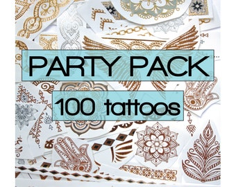 100 pieces of gold, silver metallic tattoos with color highlights,  party favors,  surprise, tattoo, flash, festivals, beach, gifts, beach