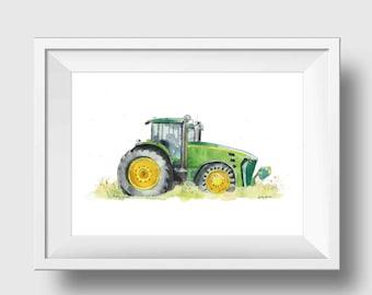 Green Tractor Nursery Art Tractor Nursery Decor Tractor Wall Art Boys Room Decor Tractor Print Farm Nursery Wall Decor Boy Nursery Decor