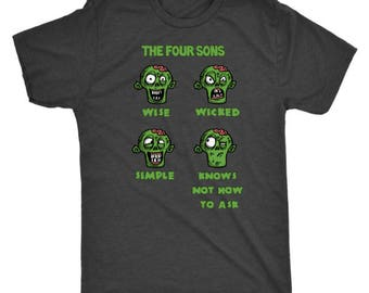 Passover 2018 Adult Clothing Stuff Zombie Gifts 4 ( Four) Sons Haggadah Shirt Afikoman Seder Pesach For Men & Women-Jewish Holidays