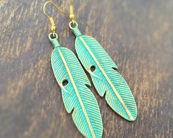 Feather Earrings - Patina - Gold Jewelry - Green - Southwestern Jewellery - Native American
