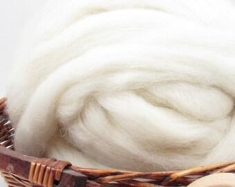 White Icelandic Wool Top Roving - Undyed Natural Spinning & Felting Fiber / 1oz