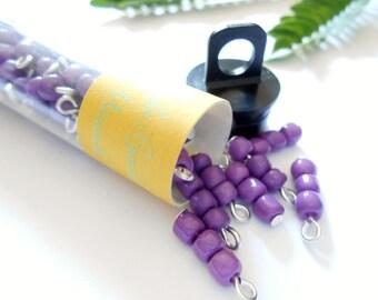Purple 3Bead Opaque Dangle Beads