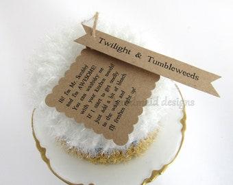 Kitchen Scrubby TRIO~Twilight and Tumbleweeds~Reuseable Scrubbie~Pot Scrubby~Green Living~handmade scrubby~Scrubby Pad