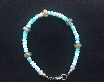 Opal and labradorite braclet with silver clasp