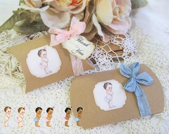 Vintage Style Baby Medium Kraft Pillow Candy Box Shower Favor - Set of Ten - Baby Shower Its a Girl or Boy Favor Box Sprinkle
