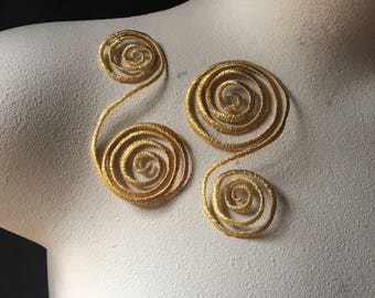 2 GOLD Appliques Iron On for Lyrical Costumes, Garments  IRON 15