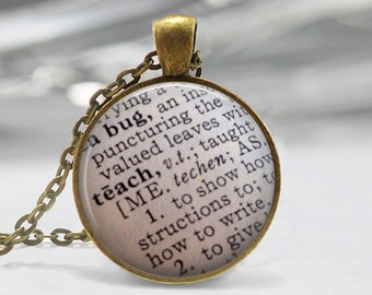 Teacher Appreciation Teach Dictionary Definition Necklace or Key Chain Dictionary Jewelry Glass Dome Pendant Teacher Gift