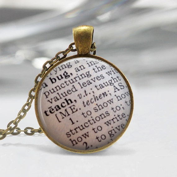 Teacher appreciation teach dictionary definition necklace or like this item mozeypictures Gallery
