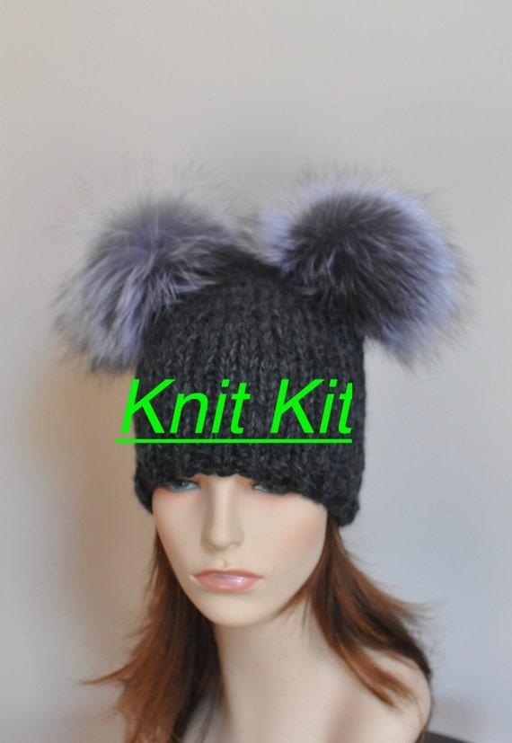 Kit de punto para principiantes-doble pompones Hat - patrón PDF Kit ...
