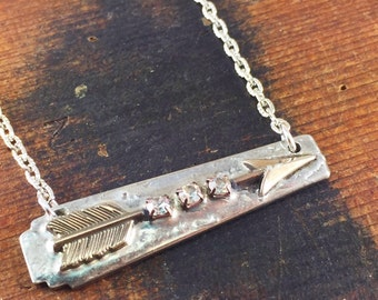 Silver Arrow Necklace with Rhinestones, Soldered Jewelry, Bar Style Necklace, Follow Your Arrow, Silverware Jewelry, Wanderlust