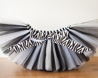 Zebra tutu 'Courtney' black and white zebra tutu girls tutu photo prop zebra birthday tutu skirt size 5 6 7 8 10 12 zebra halloween costume